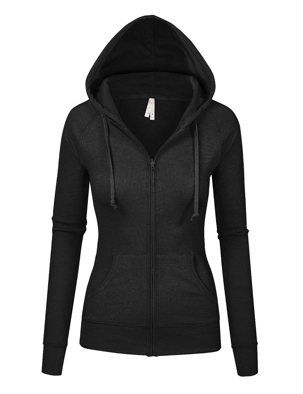 Black Womens Multi colors Thermal Zip Up Casual Hoodie Jacket S3X
