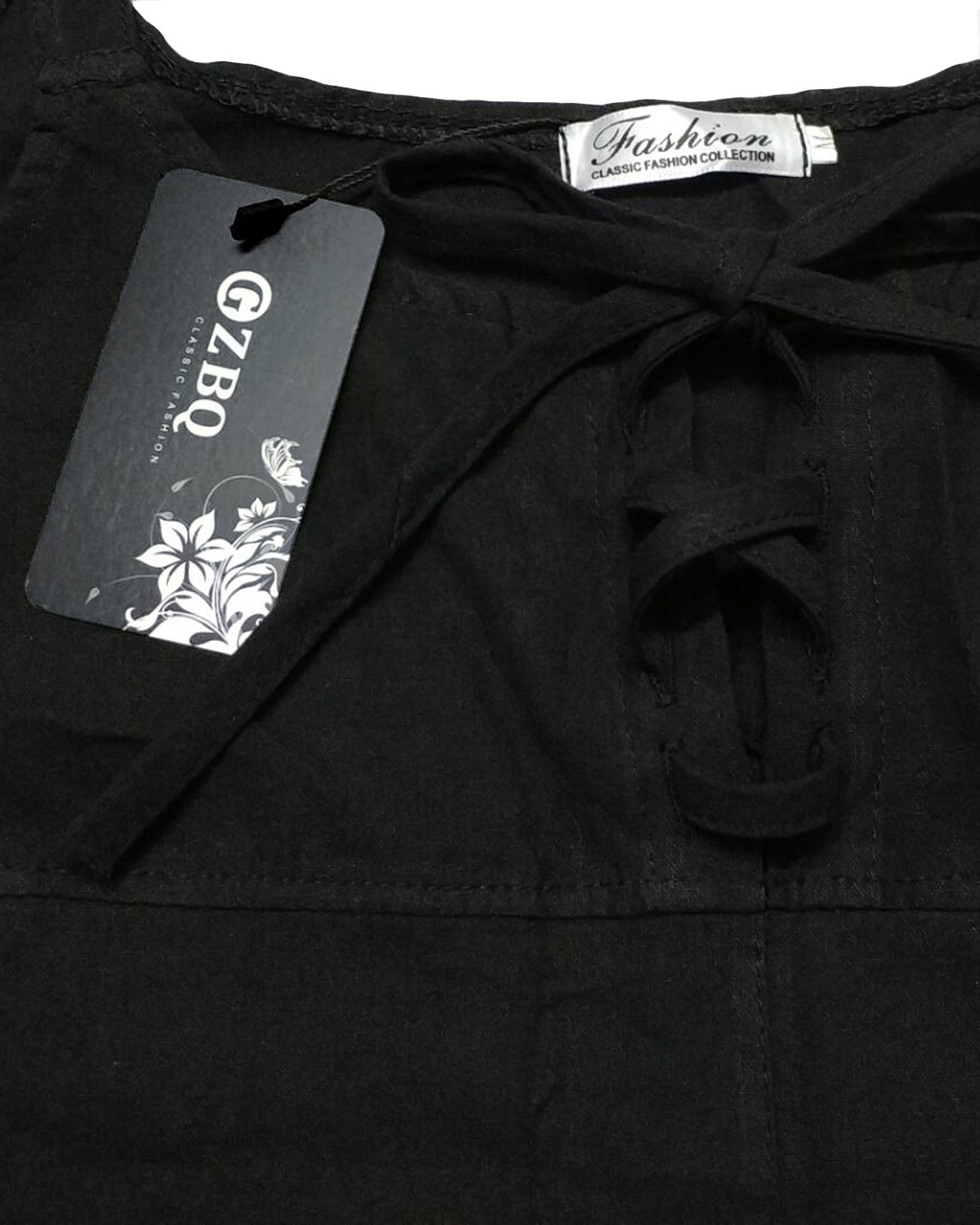 GZBQ Overalls for Women Casual Cotton Jumpsuit Plus Size Baggy Bib Wide Leg Overalls Pants Black 2XL by GZBQ (Image #5)