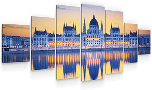 Startonight Huge Canvas Wall Art City In The Mirror Of Water II