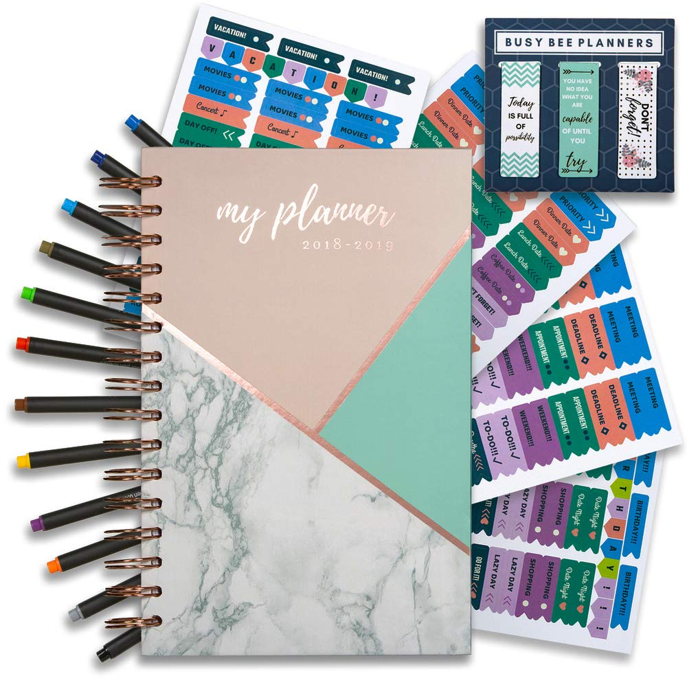 Achieve your  goals and improve productivity! Busy Bee Planners Planner 2019 weekly monthly planner with bonus pens and stickers!