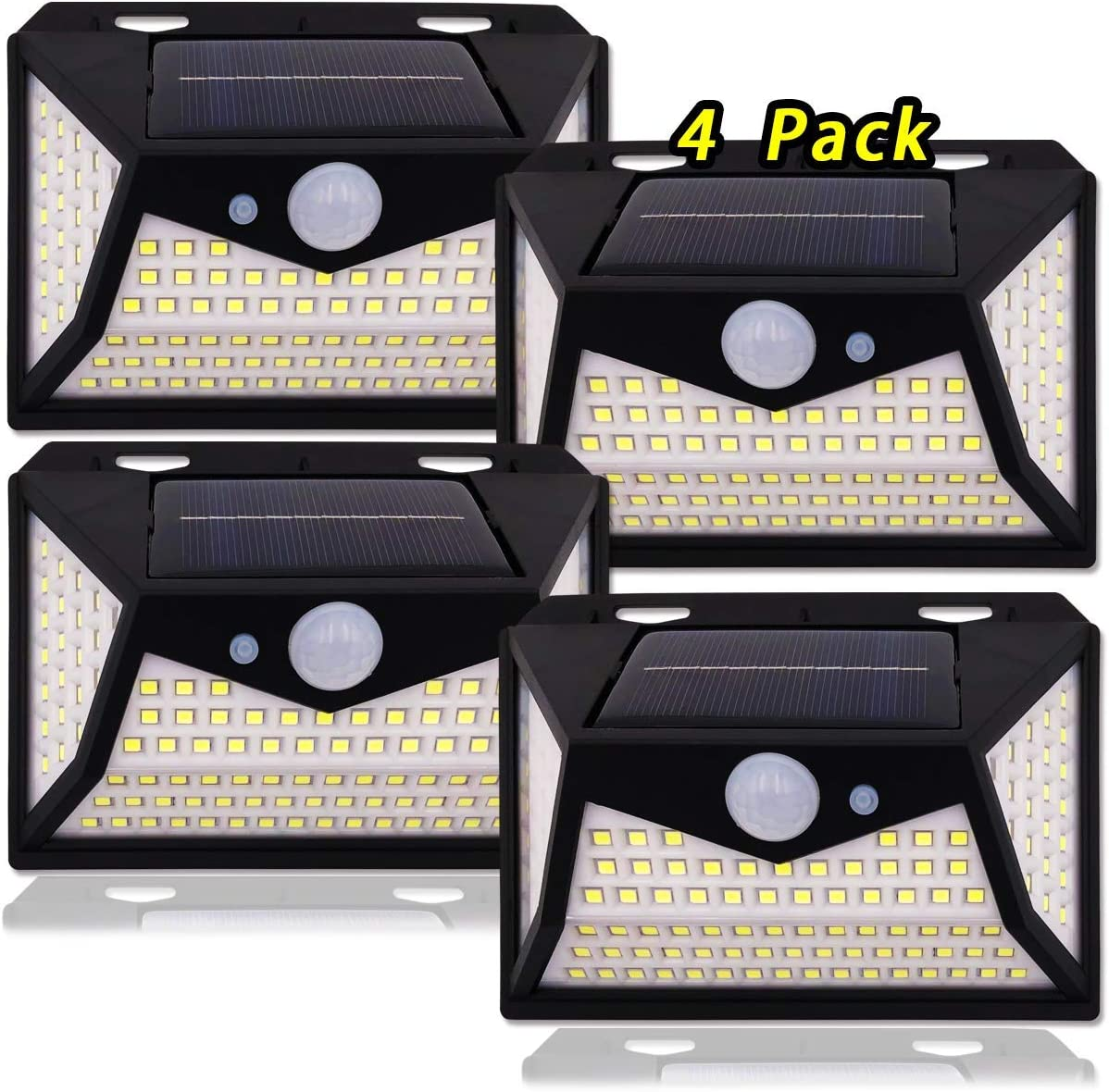 Solar Wall Light,Solar Lights Outdoor,118 LEDs,4 Pack,Motion Sensor with 3 Lighting Modes IP65 Waterproof Led,for Outdoor Party, Garden, Patio, Garage, Back/Front Door,Porch