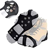 Doormoon Crampons Walk Cleats Traction, 50 Spikes Anti Slip Ice Grips for Boots Shoes with for Snowing Hiking Fishing Walking