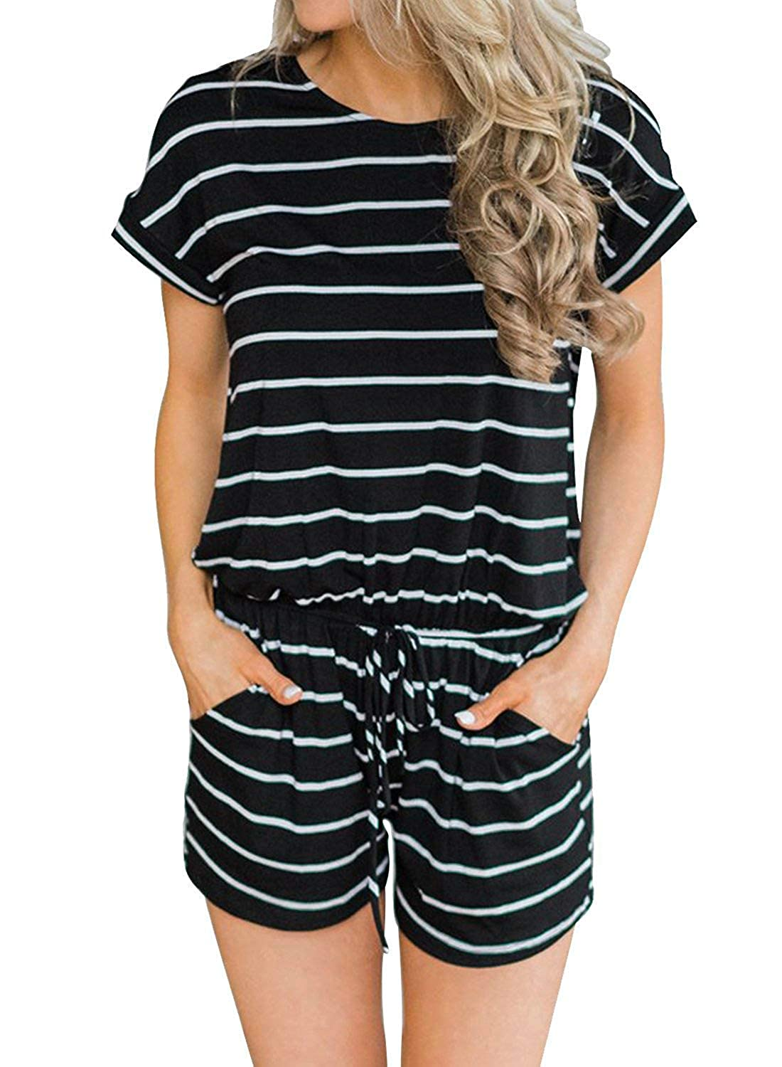 01black Striped Artfish Women's Summer Striped Jumpsuit Casual Loose Short Sleeve Jumpsuit Rompers