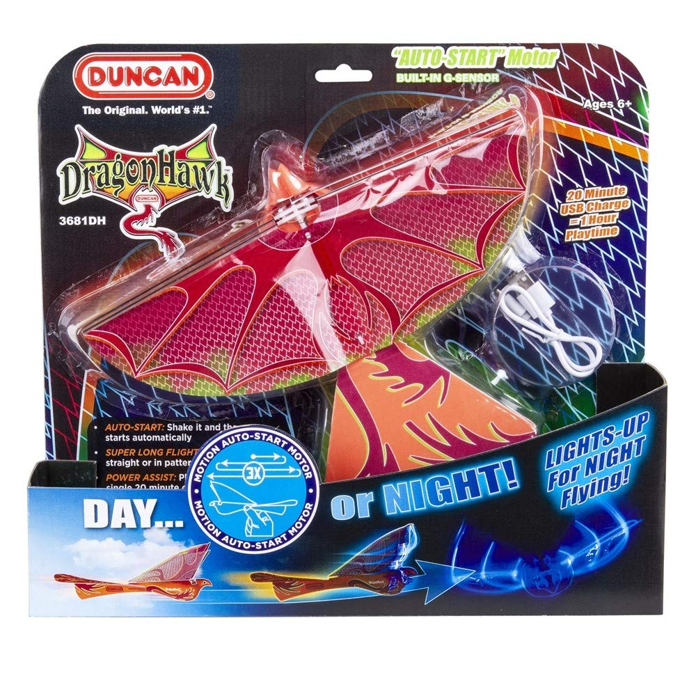 Dragon Hawk Glider with Power Assist -Auto Start - Lights Up for Night Flying!