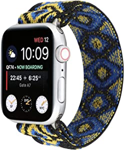 OnederHome Stretchy Sport Loop Strap Compatible for Apple Watch Band 38mm 40mm 42mm 44mm iWatch Series 6/SE/5/4/3/2/1 Stretch Elastics Wristbelt (Eye, 42/44mm for Small Wrist)