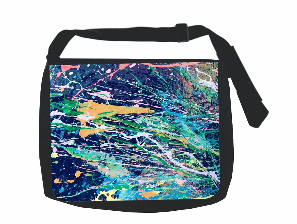 Abstract Paint Print Design ? Jack's Outlet Inc.« Laptop Messenger Bag for Laptop/Notebook Computers + Small Wire/Accessory Case SET -
