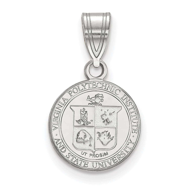 925 Sterling Silver Rhodium-plated Laser-cut University of Virginia Medium Pendant