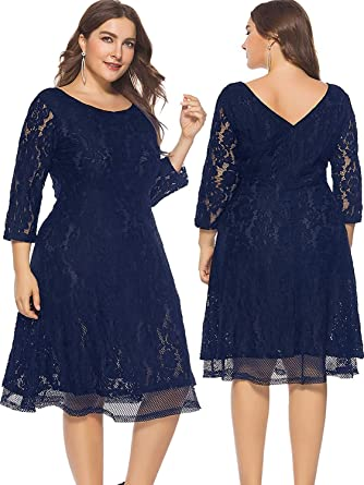 c4d836e34ed KILOLONE Women s Plus Size Floral Lace Midi Dress Formal A Line Swing  Cocktail Party Dress at Amazon Women s Clothing store