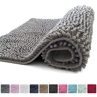 Kangaroo Plush Luxury Chenille Bath Rug (30x20) Extra Soft and Absorbent Shaggy Bathroom Mat Rugs, Machine Wash/Dry, Strong Underside, Plush Carpet Mats for Kids Tub, Shower, and Bath Room (Gray)