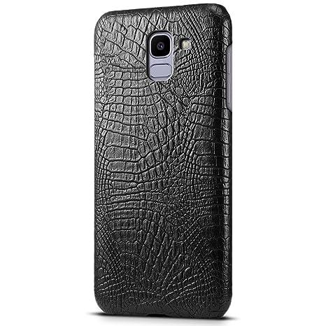 SLEO Funda Samsung Galaxy J6 2018 Carcasa Ultra Delgado Funda Tipo Lagarto Cocodrilo [Anti-Rasguño] Suave Cuero Exterior + Plástico Duro Interior ...