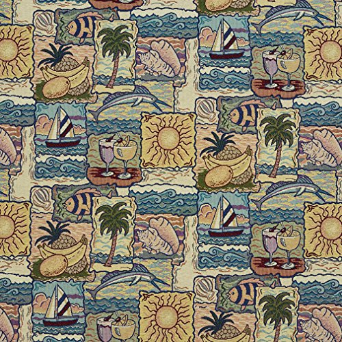 - Tropical Palm Tree Cocktails Sunshine Beach Fish Marlin Boat Print Tapestry Upholstery Fabric by the yard