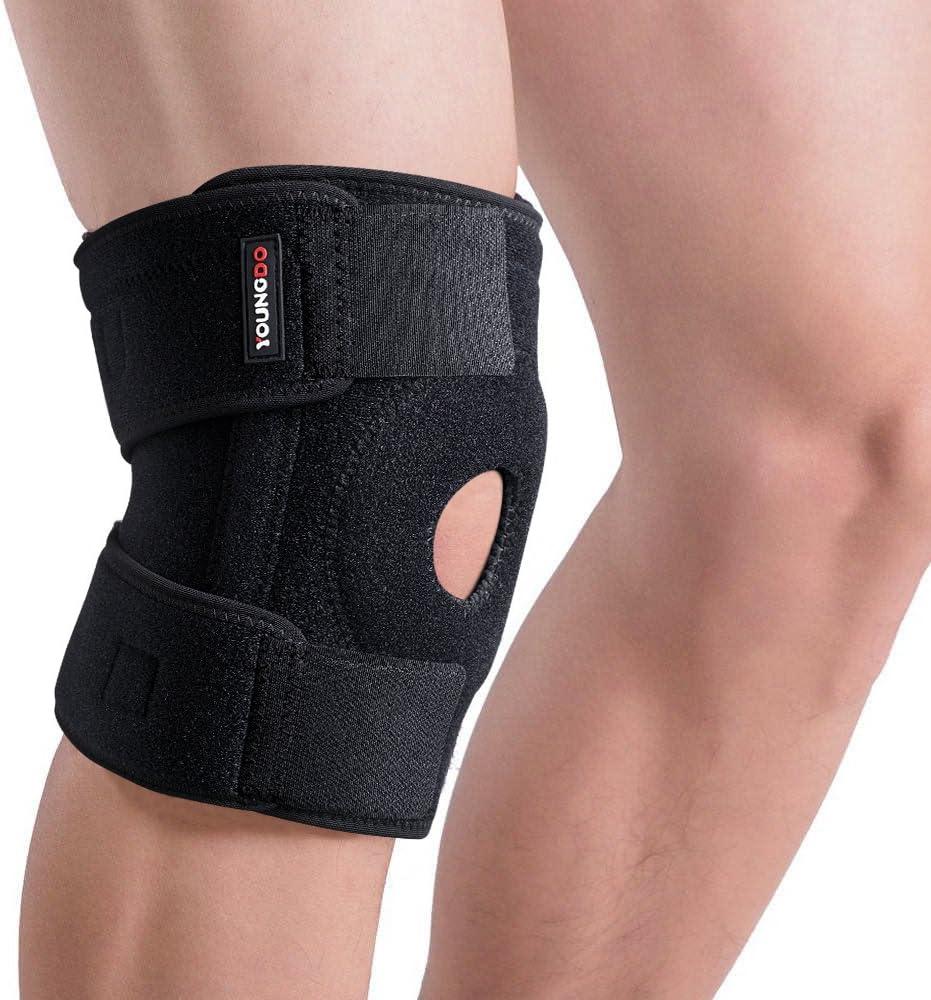 YOUNGDO Rodillera Deportiva Articulada Ajustable para Rótula y Menisco Protección de Rodilla para Correr, Crossfit, Caminar, Gimnasio, y Otras Actividades al Aire Libre