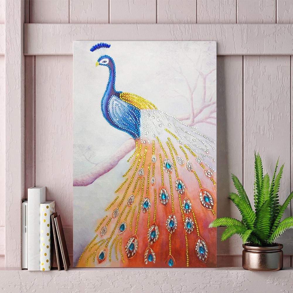 HAPPIShare 5D DIY Diamond Painting Kits for Adults Full Drill Crystal Rhinestone Embroidery Cross Stitch Arts Craft Canvas Wall Decor Peacock