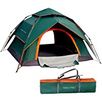 TRIPLE TREE 4 Person Pop Up Tent Family Camping Tents Waterproof Windproof and Sun Protection Tents Two-Layer…