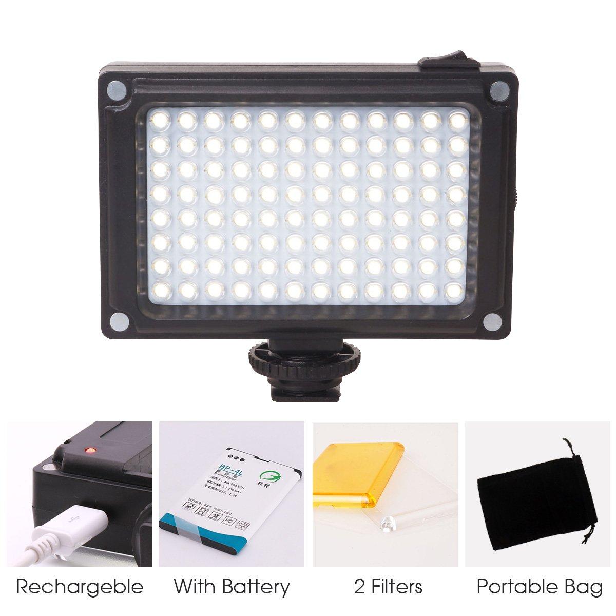 Rechargeble 96 LED Video Light,Ulanzi Pocket Mini on Camera Led Light with 2500mAh Battery and Magnet Filters for Sony Panasonic Canon Nikon DSLR Camcorder by ULANZI