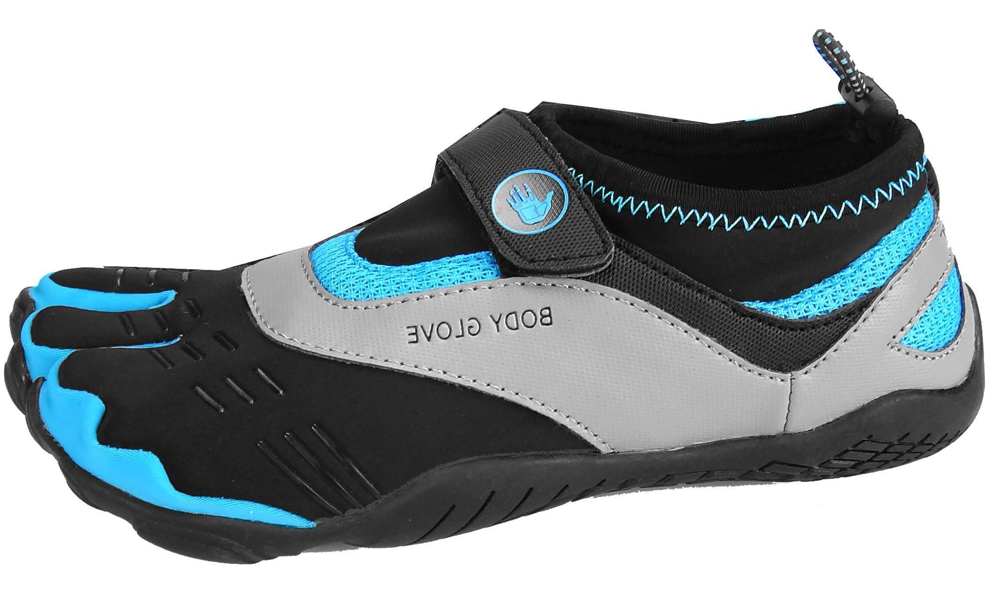 Body Glove Women's Max Trail Running Shoe, Black/Neon Blue, 8.0 M US