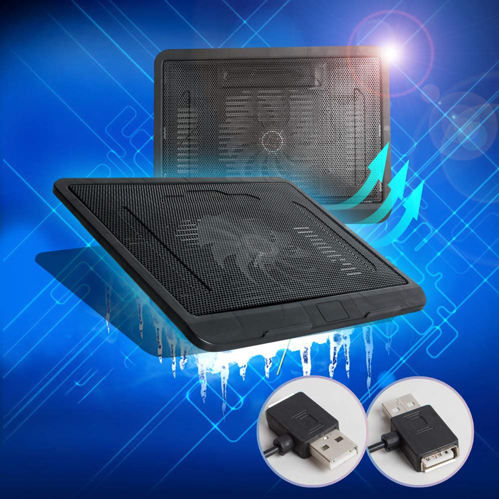 Silent Laptop Cooling Pad ixaer 14-inch Ultra-Slim Quiet Laptop Notebook Cooler USB Powered Cooling Pad Computer Cooling Base with Oversized Fan