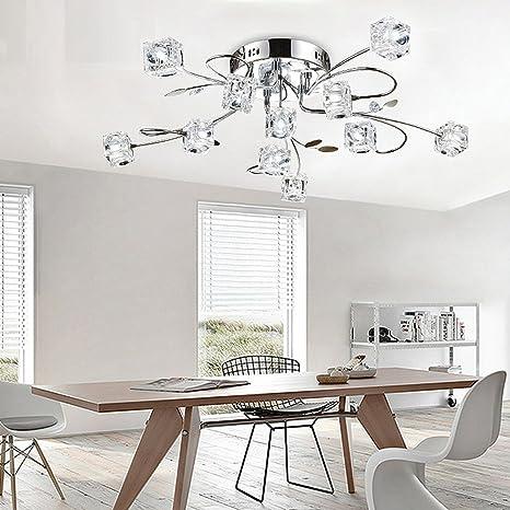 Modern elegante lámpara de techo cristal flores y metal Chrome ...