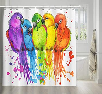 Parrots and Birds in Floral Gardens Jungle Tropical Decor Shower Curtain Set