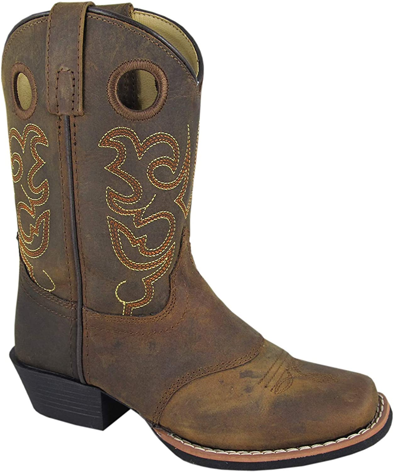 Smoky Mountain Childs Western Sedona Saddle SQ Toe Boots Brown Distress//True Timber Camo