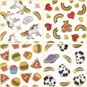 Mrs. Grossman's 101 Puffy Stickers, Stickers for Kids: Cute Metallic Decal Puffies Stickers for Laptops, Phones, Water Bottles, Scrapbooking, Party Favors, Party Supplies