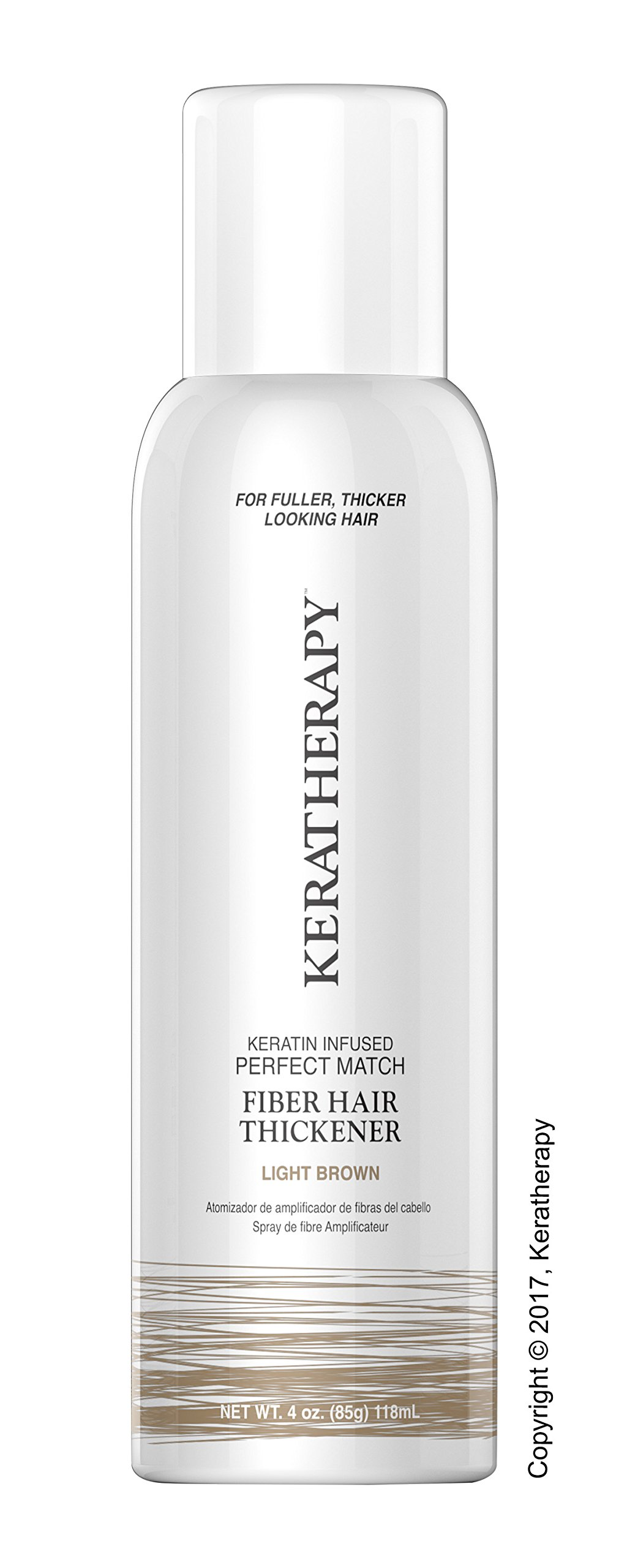 Keratherapy FIBER THICKENING SPRAY 4 OZ Keratin Infused Perfect Match for Fuller, Thicker Looking Hair! (Light Brown)