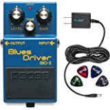 Boss BD-2 Blues Driver Guitar Effects Pedal - INCLUDES - Blucoil Power Supply Slim AC/DC Adapter for 9 Volt DC 670mA AND 4 Pack of Guitar Picks​