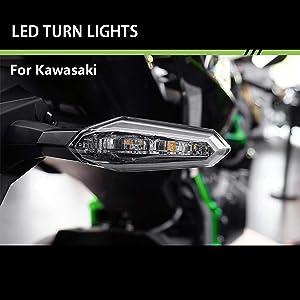 2019 New Front&Rear LED Turn Signal Indicator Lights For KAWASAKI NINJA ZX-10R / ZX-10R SE / ZX-6R / NINJA 650 / NINJA 650 KRT Edition / VERSYS 650 / Versys-X300 / ER-6n / Z900 / Z1000 / Z300