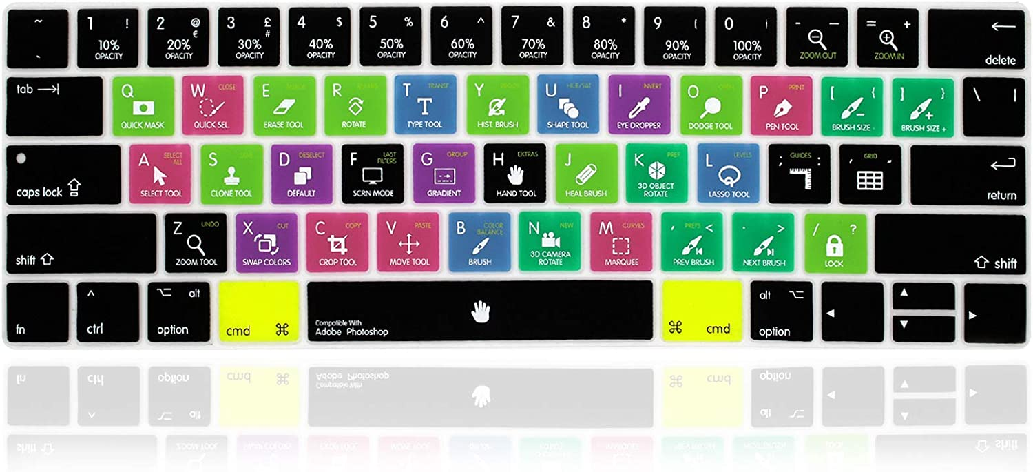 MMDW English Silicone Photoshop PS Shortcuts Hotkey Keyboard Cover Skin for MacBook Pro with Touch Bar 13-inch 15-inch(Model A2159,A1989,A1990,A1706,A1707) (2019-2016) USA Layout Protective Skin