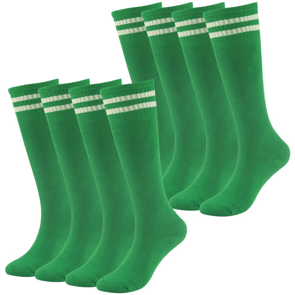 Knee High Cushioned Soccer Socks Lucky Commerce Teens Youth Football Sock 8 Pairs (Green) by Lucky Commerce