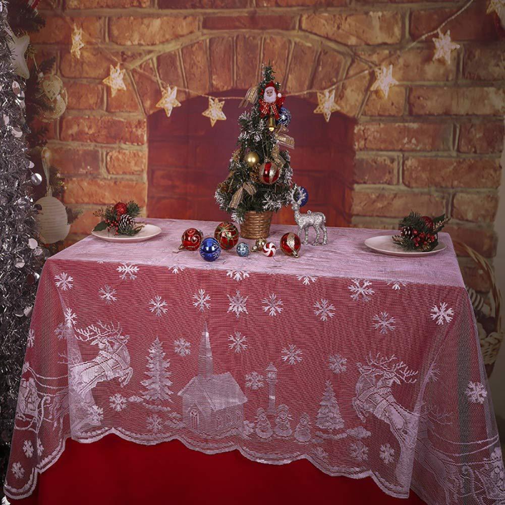 Xmas Tablecloth Snowflake Elk Santa Claus Snowman Lace Table Cover Christmas Party Decor 132x178cm