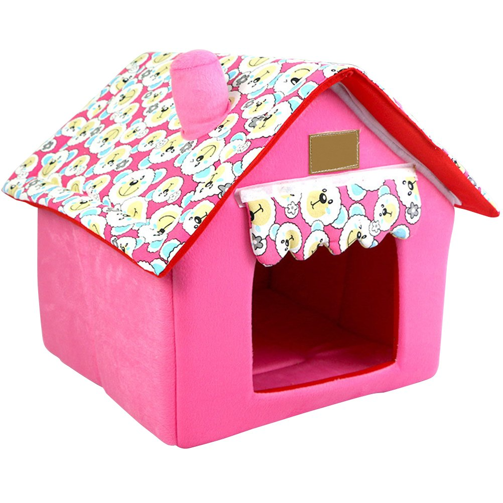 L UEETEK Detachable Portable Pet House Bed for Small Dogs and Cats Size L (Pink)