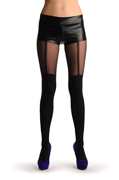 black faux stockings with silver lurex top suspender belt tights