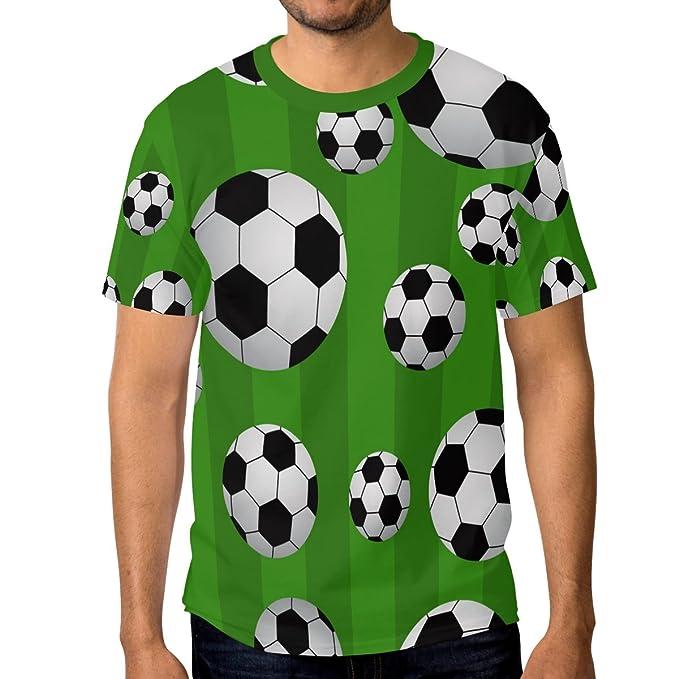 ALAZA Hombre Manga del Balón de Fútbol Fútbol Cortos de la Camiseta Casual de Cuello Grande