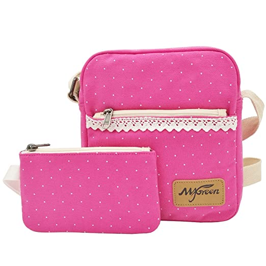 Shoulder Bag for Girls, Cute Canvas Sling Bag Shoulder Bag Pencil Case Pencil Bag 2 PCS by My Green (Rose)