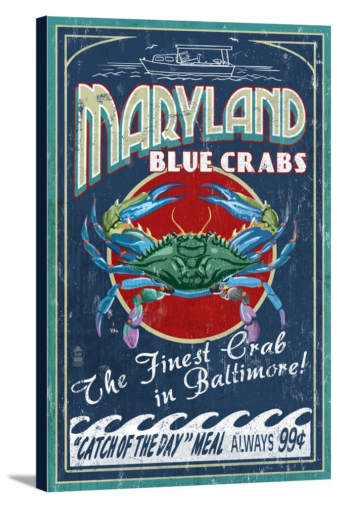 Baltimore, Maryland - Blue Crabs Vintage Sign (12x18 Gallery Wrapped Stretched Canvas) by Lantern Press