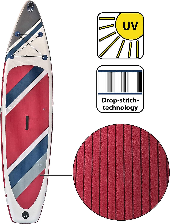 ALPIDEX Stand Up Paddle Set SUP 305 x 76 x 15 cm Belastbar bis 110 kg Aufblasbar Stabil Leicht Komplett Set Tragetasche Paddel Finnen Luftpumpe Leash Repair Kit