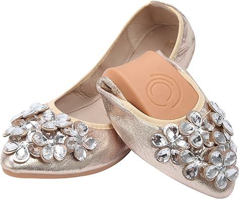 Bailarinas Plegables Mujer Qiamoo Bailarinas Boda Plano Elegante Suave Bailarinas Zapatos: Amazon.es: Zapatos y complementos
