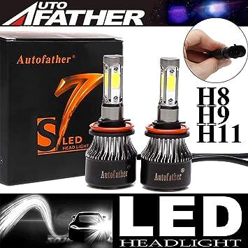 Mini 4 side H8 H9 H11 LED Headlight Bulbs Kits High Low Beam 440000lms 6000K XE
