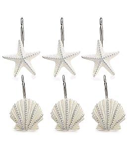 WElinks 12 Ganchos para Cortina de Ducha, Diseño de Playa de Océano, Caballito de Mar, Decoración de Estrellas, Ganchos para Cortina de Baño de Resina, Anillos de Acero Curvado