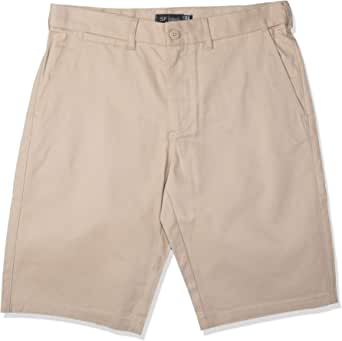 Cotton Flat Front Short for Men, Size 32 EU, Beige
