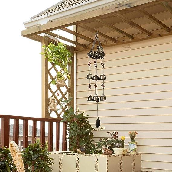 Meihong - Campanillas de viento para exteriores, diseño de nido de pájaros, color bronce, para exteriores, 12 unidades de campanas de viento, decoración de pájaros, campanillas de viento colgantes, campanilla de viento