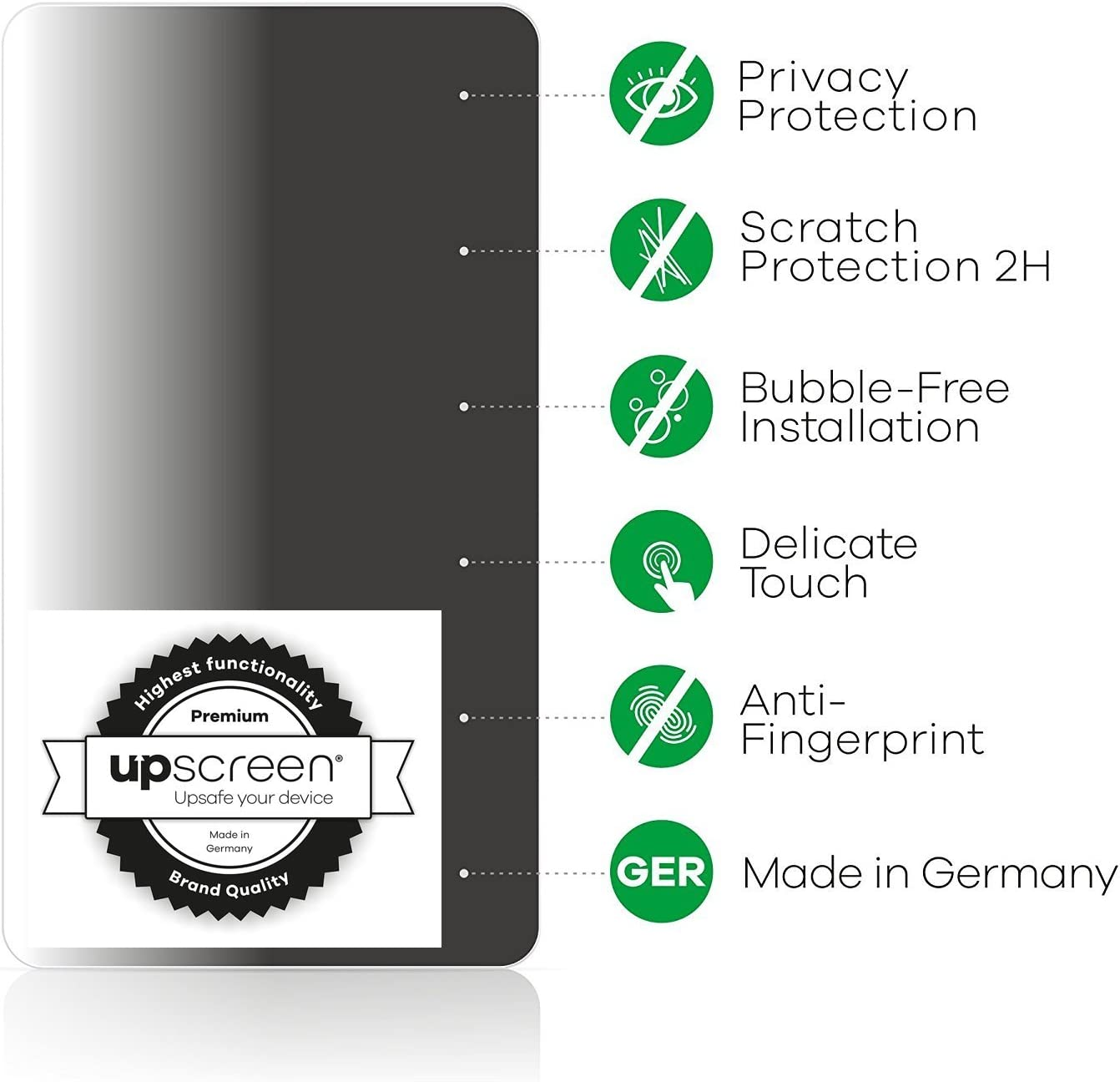 privacy protection , view protection starts at a 30/° angle upscreen Spy Shield Clear Privacy Screen Protector for  Kindle Oasis 2019 self-adhesive
