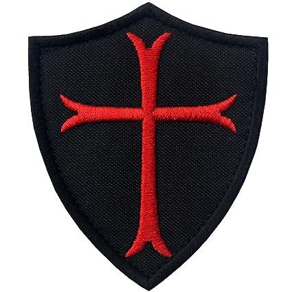 Caballeros templarios Cruz Escudo Militar moral parche cierre gancho & loop bordado – negro ...