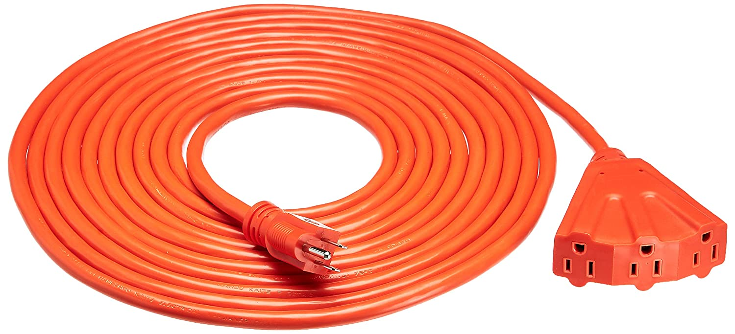 AmazonBasics 12/3 Outdoor Extension Cord with 3 Outlets, Orange, 25 Foot