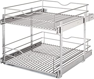 Knape & Vogt RS-DBLMUB-20-FN 20.625 in. W x 21.75 in. D x 16.25 in. H Double Tier Pull Out Cabinet Organizer, Frosted Nickel