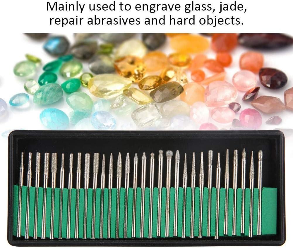 Diamond Drill Bit Burrs,Jadpes 30PCS Diamond Shank Grinding Drill Bits Set Glass Jade Jewelry Engraving Carving Rotarys Tools Jade Jewelry Grinding And Polishing Supplies Gold Tools