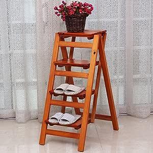 Escalera Plegable de Madera de 4 Niveles con Techo de Madera para balcón de la Sala de Estar (Color : #3): Amazon.es: Hogar
