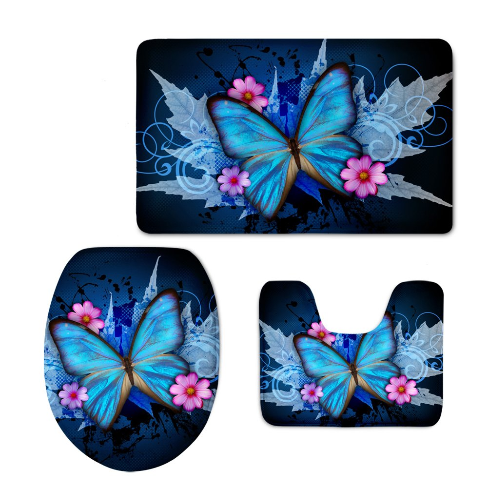 Coloranimal Fashion Animal Butterfly Print Toilet Seat Covers for Bedroom Living Room 3PCS/Set