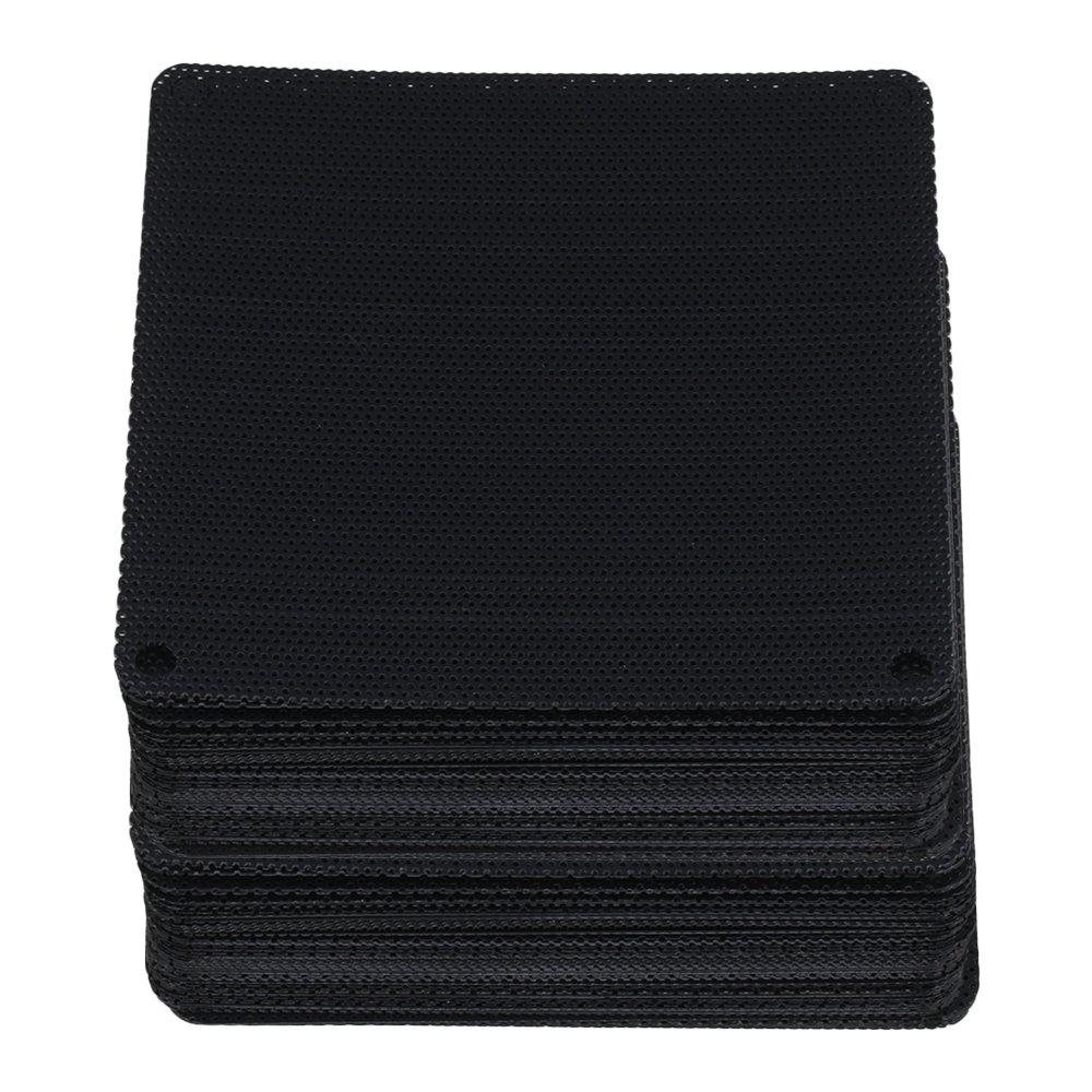 Yibuy 9cm Black Computer Cooler Fan Dustproof Mesh Case Cover Dust Filter Set of 100